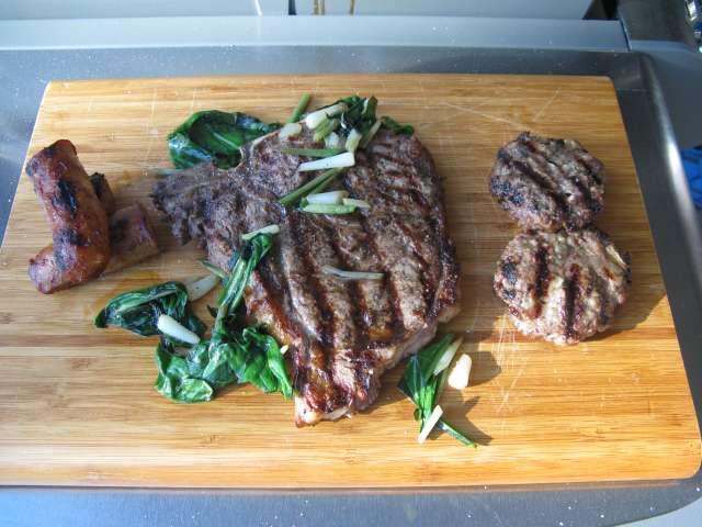 T-Bone Steak, Brisket Burgers and Wild Leeks