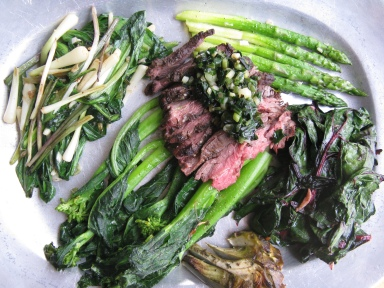 Zatar Flank Steak, Wild Leek Pesto, Chard, Yu Choy, Asparagus, Artichoke and Ramps
