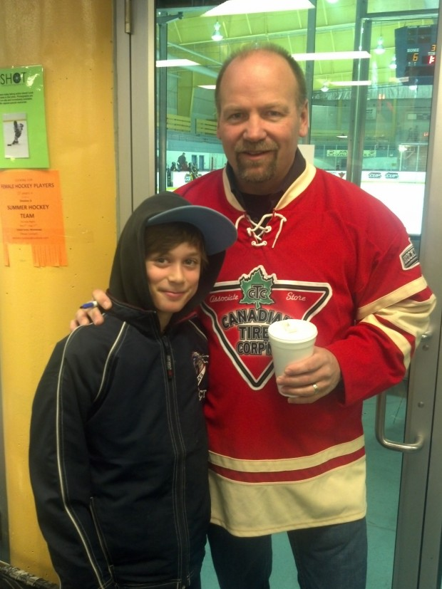 Former Toronto Maple Leaf Wendel Clark and a happy George Bell Titan