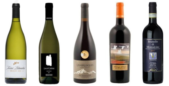 From left: Terres Blanches Muscat Sec 2012, Boutari Santorini 2012, Domaine Lambrusques Esprit Sauvage 2011, The Foreign Affair The Conspiracy 2012, and Verbena Brunello Di Montalcino 2008