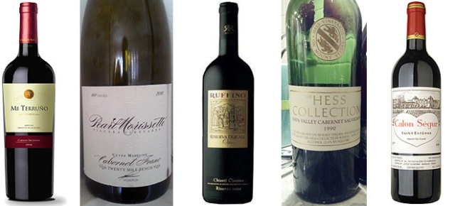 From left: Mi Terruño Reserve Cabernet Sauvignon 2010, Pearl Morissette Cabernet Franc Cuvée Madeline 2010, Ruffino Ducale Oro Riserva Chianti Classico 2008, The Hess Collection Cabernet Sauvignon 1990, and Château Calon Ségur 2010, Ac Saint Estèphe