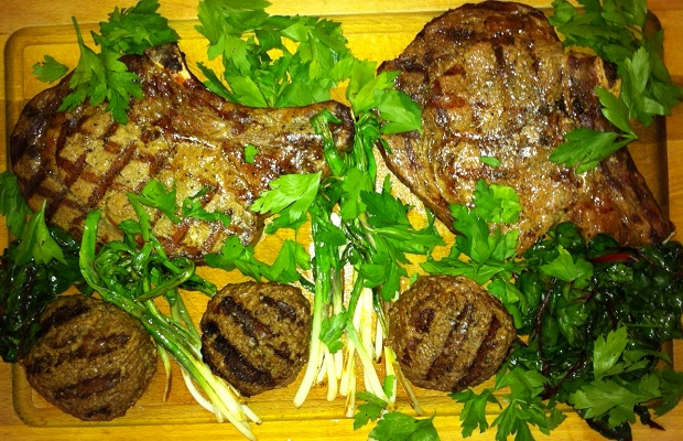 First wild leeks of the season with grilled rib-eye steaks and burgers PHOTO: Michael Godel