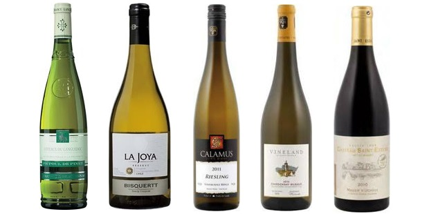 From left to right: Beauvignac Picpoul De Pinet 2013, La Joya Viognier Reserve 2013, Calamus Riesling 2012, Vineland Estates Chardonnay Musqué 2011, Château Saint Estève Massif D'uchaux 2010