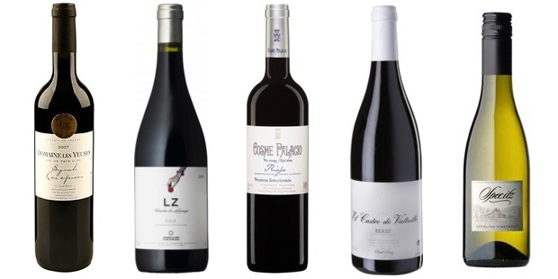 From left to right: Domaine Les Yeuses Les Épices Syrah 2011, Telmo Rodriguez Lz 2012, Cosme Palacio Y Hermanos Reserva 2007, Castro Ventosa El Castro De Valtuille 2010, Sperling Vineyards Sper...Itz 2011