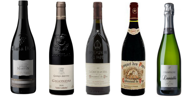 From left to right: Domaine Martin Plan De Dieu Côtes Du Rhône Villages 2011, Gabriel Meffre Sainte Catherine Gigondas 2011, La Crau De Ma Mère Châteauneuf Du Pape 2011, Bosquet Des Papes Cuvée Tradition Châteauneuf Du Pape 2011, Lamiable Brut Grand Cru Champagne