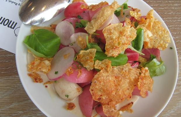 Spring Radish Salad, sherry vinegar, chive, crispy yuba