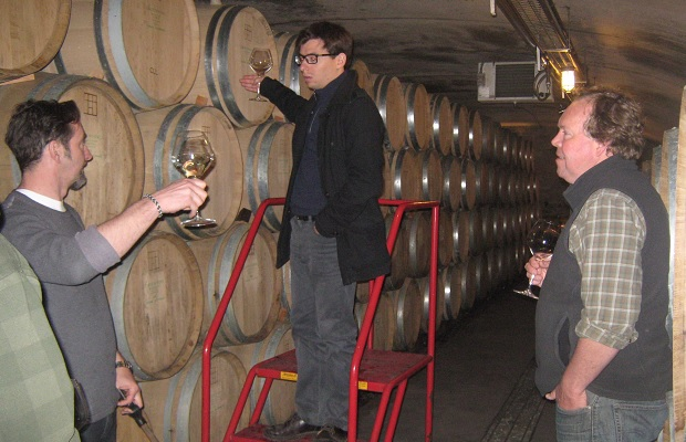 Paul Pender, Gautier Roussile and Norm Hardie discuss a Mercurey barrel