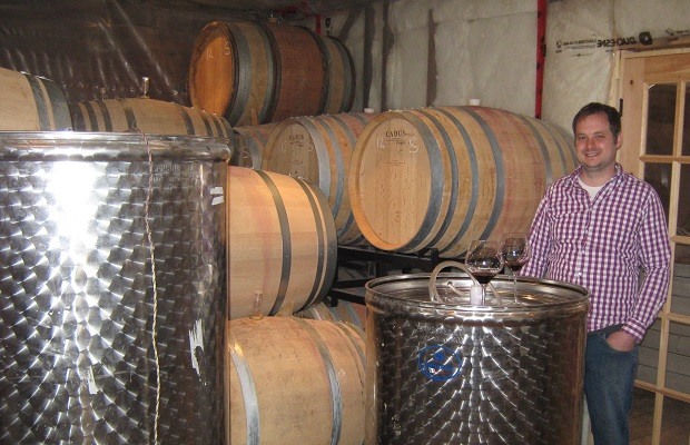 Winemaker Ilya Senchuk in the Leaning Post Barrel Room