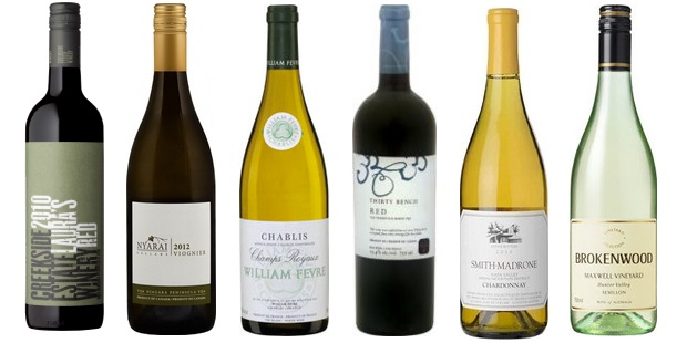 From left to right: Creekside Estates Laura's Red 2010, Nyarai Cellars Viognier 2012, William Fèvre Champs Royaux Chablis 2012, Thirty Bench Red 2011, Smith Madrone Chardonnay 2011, Brokenwood Maxwell Vineyard Semillon 2007