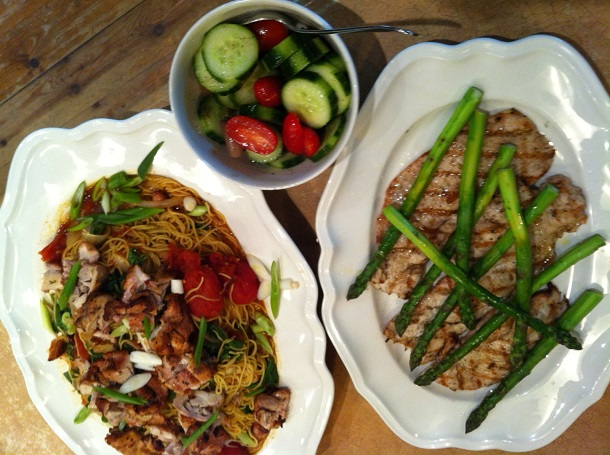 Competition Chicken on Yellow Noodles, Grilled Turkey Paillard, Local Asparagus, Cucumber Tomato Salad