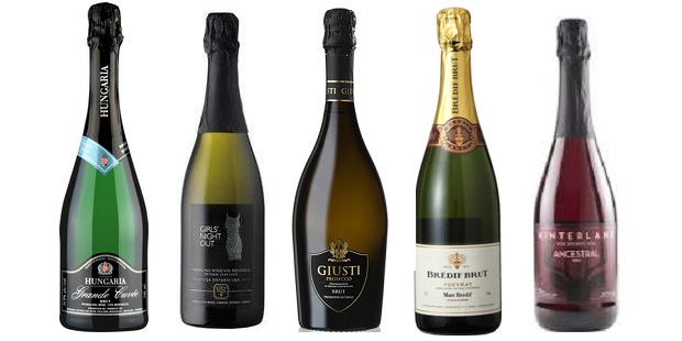From left to right: Hungaria Grande Cuvée Brut, Girls' Night Out Sparkling, Giusti Brut Prosecco Asolo, Brédif Brut Vouvray NV, Hinterland Ancestral 2013