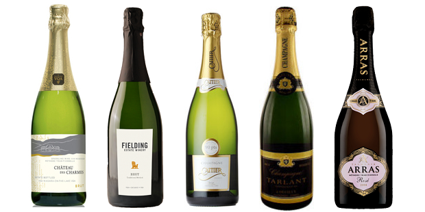 From left to right: Château Des Charmes Brut Méthode Traditionnelle, Fielding Estate Brut NV, Cattier Brut Premier Cru, Tarlant Brut Reserve Champagne, House of Arras Rosé 2005