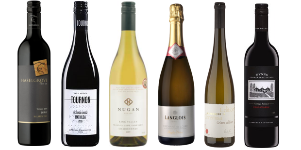 From left to right: Haselgrove First Cut Shiraz 2010, Domaine Tournon Mathilda Shiraz 2011, Nugan King Valley Frasca's Lane Chardonnay 2012, Langlois Château Brut Crémant De Loire, Winzer Krems Edition Chremisa Grüner Veltliner 2012, Wynns Coonawarra Estate Black Label Cabernet Sauvignon 2010