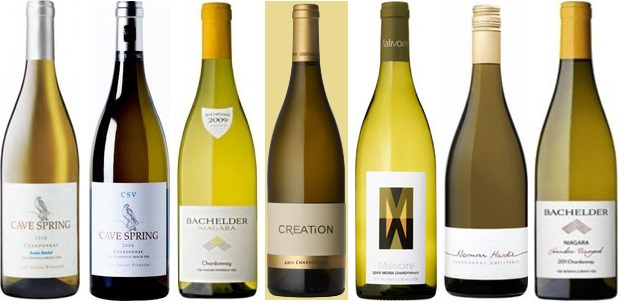 From left to right: Cave Spring Estate Chardonnay 2011, Cave Spring CSV Estate Bottled Chardonnay 2011, Bachelder Niagara Chardonnay 2012, Creation Wines Chardonnay 2011, Malivoire Moira Chardonnay 2010, From left to right: Cave Spring Estate Chardonnay 2011, Cave Spring CSV Estate Bottled Chardonnay 2011, Bachelder Niagara Chardonnay 2012, Creation Wines Chardonnay 2011, Malivoire Moira Chardonnay 2010, Bachelder Saunders Vineyard Chardonnay 2012, Bachelder Saunders Vineyard Chardonnay 2012