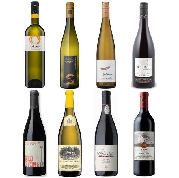 From the left and clockwise: Argyros Atlantis White 2012, Tawse Sketches Of Niagara Riesling 2013, Featherstone Gewürztraminer 2013, Featherstone Gewürztraminer 2013, Redstone Vineyard Reserve Cabernet Franc 2010, Hamilton Russell Chardonnay 2012, Staete Landt Paladin Pinot Noir 2010, Hidden Bench Terroir Caché Meritage 2010
