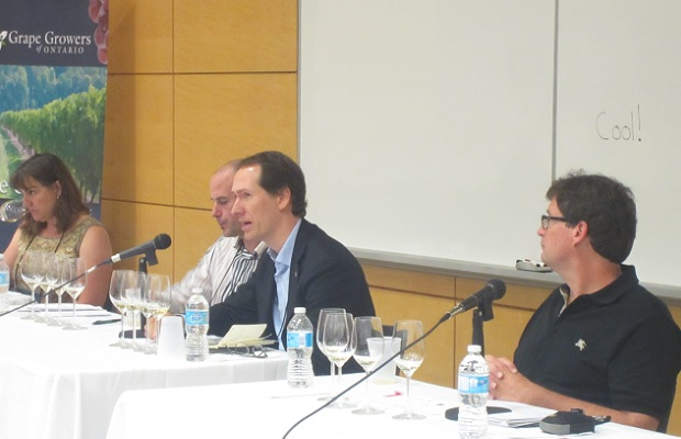 Chardonnay panel with Ann Sperling, Sébastien Jacquey, Miguel Torres Maczassek and W. Blake Gray Photo: Michael Godel