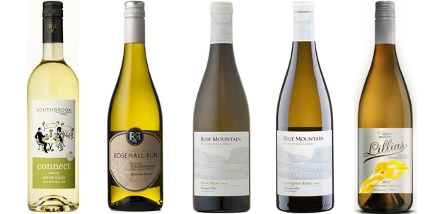 Southbrook Connect White 2013, Rosehall Run Hungry Point Unoaked Chardonnay 2013, Blue Mountain Pinot Blanc 2013, Blue Mountain Sauvignon Blanc 2013, Westcott Lillias Unoaked Chardonnay 2012