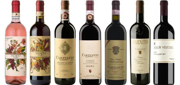 From left to right: Rosato 2013, Dogajolo Rosso 2012, Chianti Classico 2012, Chianti Classico Riserva 2008, Vino Nobile Di Montepulciano Riserva 2007, Farnito Cabernet Sauvignon 2009, Molin Vechio 2004