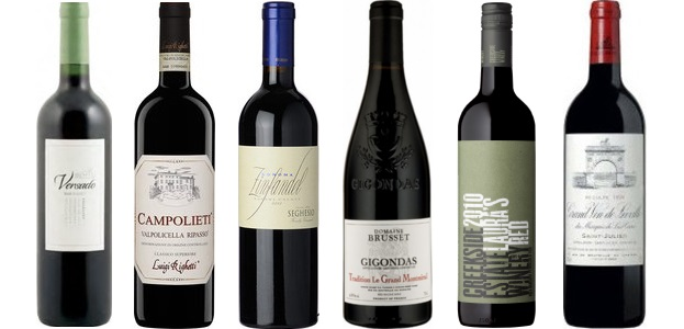 From left to right: Versado Malbec 2013, Luigi Righetti Campolieti Ripasso Valpolicella Classico Superiore 2012, Seghesio Zinfandel 2012, Domaine Brusset Tradition Le Grand Montmirail Gigondas 2012, Creekside Laura's Red 2011, Château Léoville Las Cases 2006