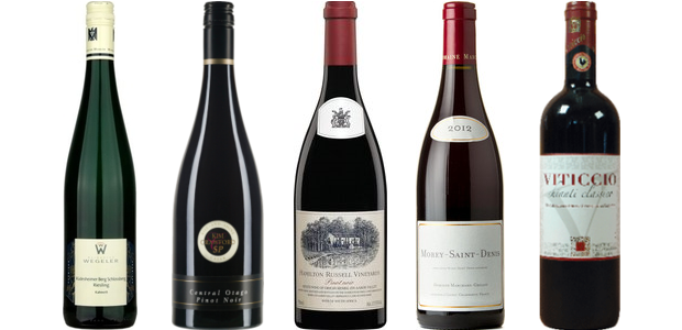 From left to right: Wegeler Rüdesheimer Berg Schlossberg Riesling Kabinett 2012, Kim Crawford Small Parcels Rise & Shine Pinot Noir 2012, Hamilton Russell Pinot Noir 2012, omaine Marchand Grillot Morey Saint Denis 2012, Viticcio Chianti Classico 2011