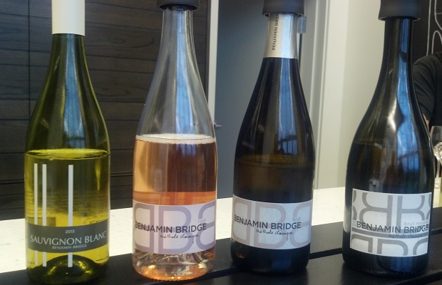 Benjamin Bridge Wines from left to right: Sauvignon Blanc 2013, Brut Rosé Sparkling 2010, Brut Methode Classique 2009, Brut Reserve Methode Classique 2008