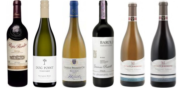 From left to right: Bordón Gran Reserva 2005, Dog Point Vineyard Sauvignon Blanc 2013, Domaine Hamelin Beauroy Chablis 1er Cru 2011, Giacosa Fratelli Bussia Barolo 2009, Giacosa Fratelli Bussia Barolo 2009, Le Clos Jordanne Claystone Terrace Chardonnay 2011, Le Clos Jordanne Claystone Terrace Pinot Noir 2011