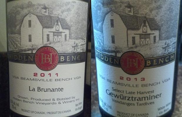 Hidden Bench La Brunante 2011 and Select Late Harvest Gewürztraminer Vendanges Tardives 2013