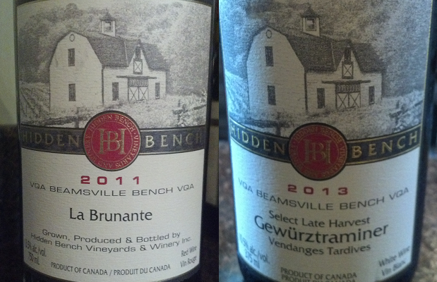 Hidden Bench La Brunante 2011 and Select Late Harvest Gewürztraminer Vendanges Tardives 2013