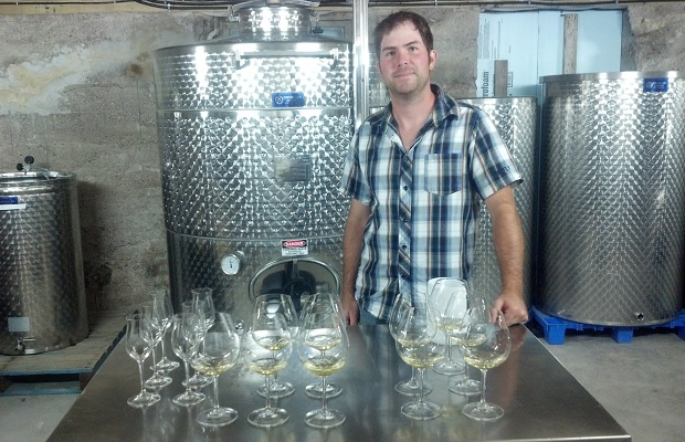Lightfoot and Wolfville Winemaker Josh Horton with barrel samples of 2013 Chardonnay