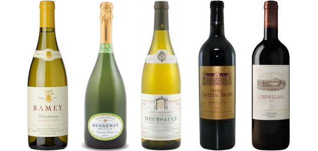 From left to right: Ramey Chardonnay Sonoma Coast 2012, Besserat De Bellefon Cuvée Des Moines Brut Champagne, Jean Gagnerot Meursault 2011, Château Cantenac Brown 2010, Ornellaia 2011