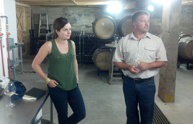Owners Jocelyn and Mike Lightfoot in the cellar at Lightfoot and Wolfville Vineyards