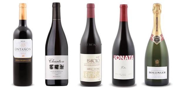 From left to right: Ontanon Gran Reserva 2001, Churton Estate Pinot Noir 2010, Aurelio Settimo Rocche Dell'annunziata Barolo 2008, Jonata Todos Red 2010, Bollinger Special Cuvée Brut Champagne