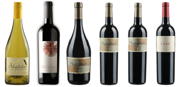 From left to right: Adaptation Chardonnay 2011, Adaptation Cabernet Sauvignon 2012, Plumpjack Chardonnay Reserve 2013, Plumpjack Merlot 2012, Plumpjack Estate Cabernet Sauvignon 2011, Cade Cabernet Sauvignon Howell Mountain 2010