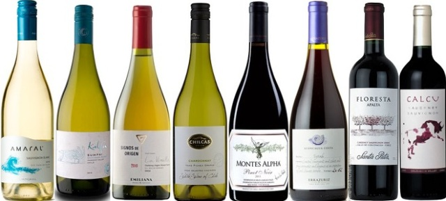 From left to right: Montgras Sauvignon Blanc Amaral 2014, Ventisquero Sauvignon Blanc Kalfu Sampai 2013, Emiliana Signos de Origen White Blend 2013, Via Wines Chardonnay Chilcas Single Vineyard 2013, Montes Alpha Pinot Noir 2012, Errazuriz Aconcagua Costa Single Vineyard Syrah 2012, Santa Rita Cabernet Franc Floresta 2012, Calcu Cabernet Sauvignon 2012