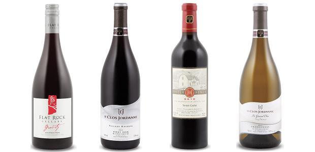 From left to right: Flat Rock Gravity Pinot Noir 2012, Le Clos Jordanne Village Reserve Pinot Noir 2011, Hidden Bench Terroir Caché Meritage 2010, Le Clos Jordanne Le Grand Clos Chardonnay 2011