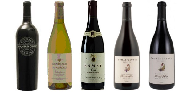 From left to right: Gundlach-Bundschu Mountain Cuvée 2012, Gundlach-Bundschu Chardonnay Estate Vineyard 2012, Ramey Syrah 2012, Thomas George Pinot Noir 2011, Thomas George Pinot Noir Cresta Ridge Vineyard 2011