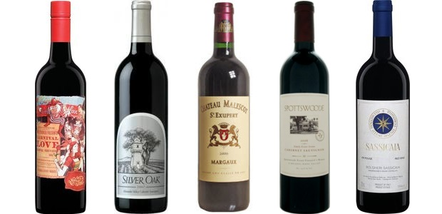From left to right: Mollydooker Carnival Of Love Shiraz 2010, Silver Oak Napa Valley Cabernet Sauvignon 2009, Château Malescot St. Exupéry 2010, Spottswoode Estate Cabernet Sauvignon 2011, Sassicaia 2011