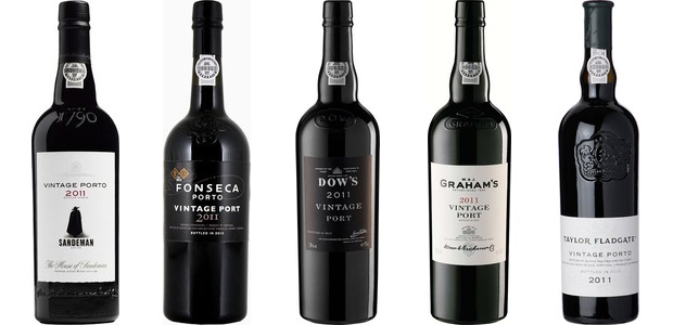 Vintage Port 2011 from left to right: Sandeman, Fonseca, Dow's, Graham's, Taylor Fladgate