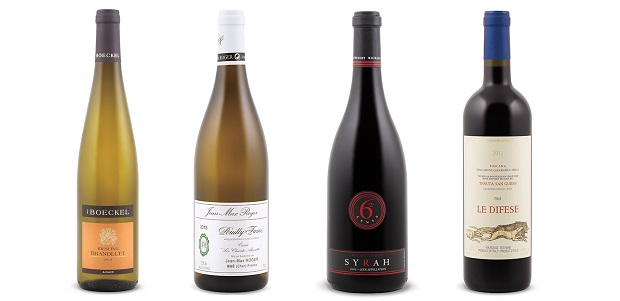 From left to right: Boeckel Brandluft Riesling 2012, Jean Max Roger Cuvée Les Chante Alouettes Pouilly Fumé 201, Michael David 6th Sense Syrah 2012, Tenuta San Guido Le Difese 2012