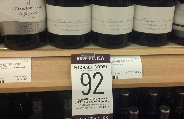 Wine review at VINTAGES of Norman Hardie Chardonnay Niagara Unfiltered 2012 by Godello