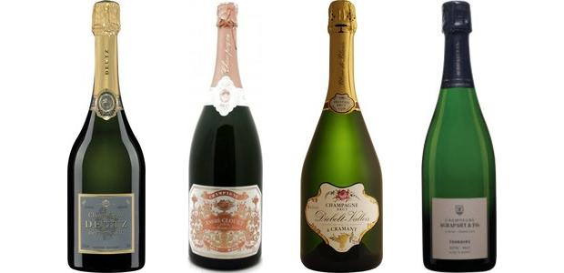 From left to right: Deutz Brut Classic Champagne, André Clouet Brut Rosé Champagne, Diebolt Vallois Prestige Brut Blanc De Blancs Champagne, Champagne Agrapart De Blanc Grand Cru Champagne