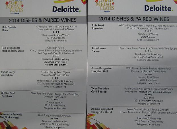 Gold Medal Plates Toronto 2014 dishes and paired wines