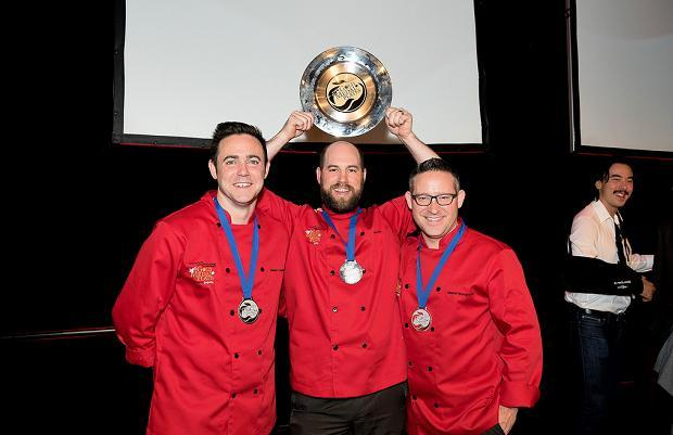 Gold Medal Plates Toronto 2014 bronze, gold and silver medal winning chefs Damon Campbell, John Horne and Jason Bangerter<br />  (c) Ronald Ng Photography
