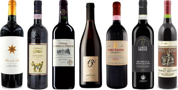 From left to right: Clos De Los Siete 2011, Il Molino Di Grace Chianti Classico Riserva 2006, Château Cambon Le Pelouse 2010, 13th Street Sandstone Old Vines Gamay Noir 2011, Paitin Sori' Paitin Barbaresco 2010, Corte Pavone Brunello Di Montalcino 2008, Heitz Cellar Trailside Vineyard Cabernet Sauvignon 2006