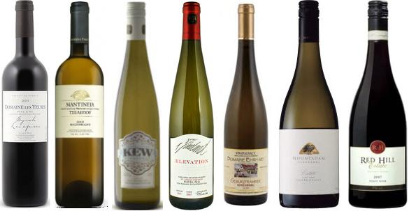 From left to right: Domaine Les Yeuses Les Épice Syrah 2012, Tselepos Classic Moschofilero 2013, Kew Vineyards Old Vine Riesling 2012, Vineland Estates Elevation St. Urban Vineyard Riesling 2012, Henri Ehrhart Gewürztraminer 2012, Mountadam Estate Chardonnay 2009, Red Hill Estate Pinot Noir 2013