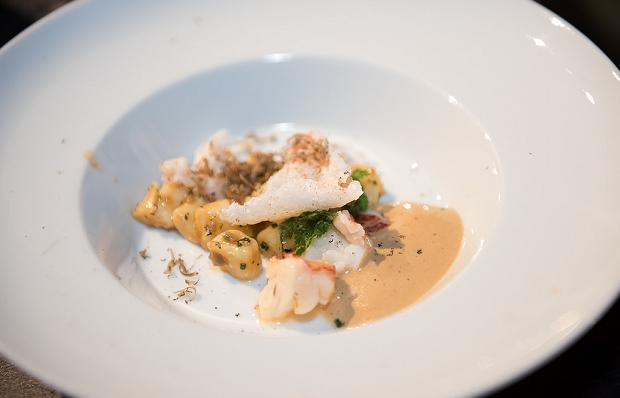 The Shangri-La Hotel's Damon Campbell Nova Scotia Lobster, Potato Gnocchi, Forest Mushroom, Black Truffle and Lobster Emulsion (c) Ronald Ng Photography