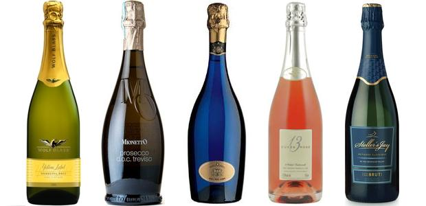 From left to right: Wolf Blass Yellow Label Sparkling Brut, Mionetto M O Prosecco, Foss Marai Extra Dry Prosecco,13th Street Cuvée 13 Sparkling Brut Rosé,Sumac Ridge Steller's Jay Brut Sparkling Wine 2009