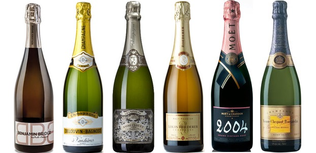 From left to right: Benjamin Bridge Brut Methode Classique 2009, Delouvin Bagnost Brut NV, André Clouet Silver Brut Nature Champagne, Louis Roederer Brut Premier Champagne, Moët & Chandon Grand Vintage Brut Rosé Champagne 2004, Veuve Clicquot Ponsardin Brut Vintage Champagne 2004