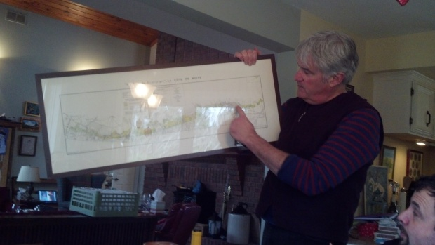 Thomas Bachelder loves his map of Bourgogne. He would crawl inside it if he could.