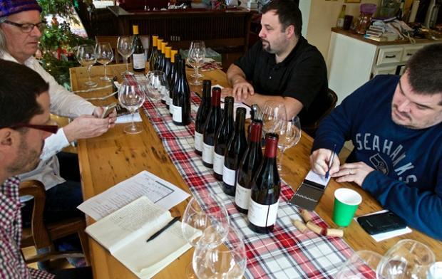 Wine writers hard at work. Clockwise from bottom left. Godello, Rick VanSickle, Evan Saviolidis and Michael Pinkus Photo: (Elene Galey-Pride, www.winestains.ca)